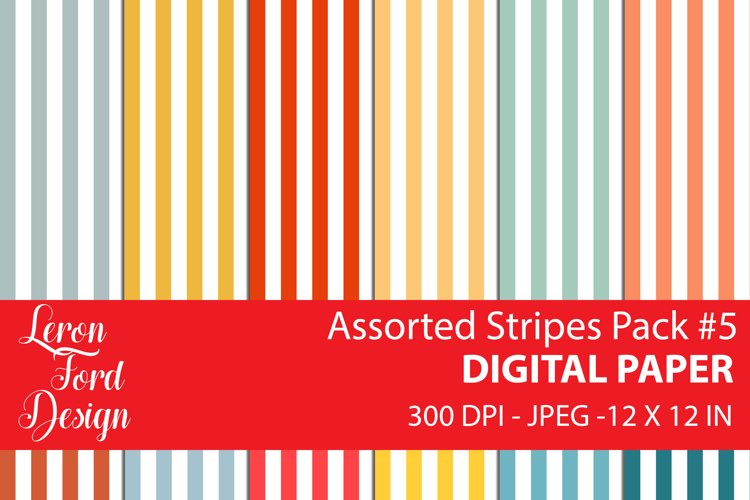 Assorted Stripes Pack #5 Digital Paper example image 1