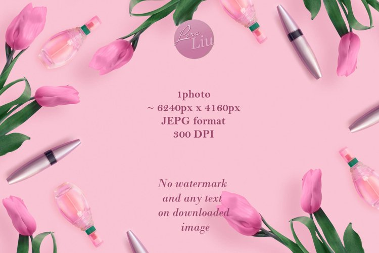Beautiful pink tulips with cosmetics on pink background example image 1