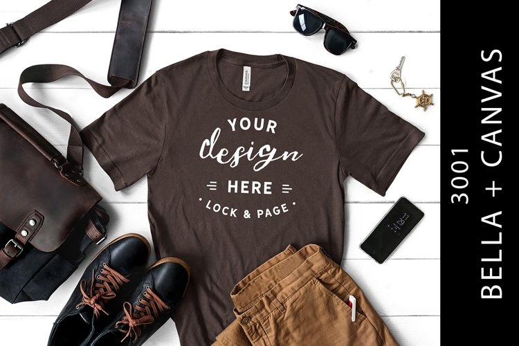 Men's Brown Bella Canvas 3001 Masculine TShirt Mockup example image 1