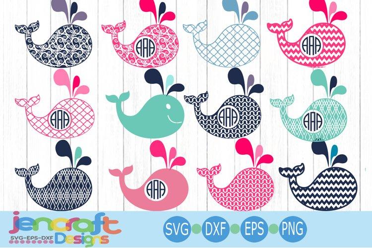 Pattern whale svg Monogram frame set SVG