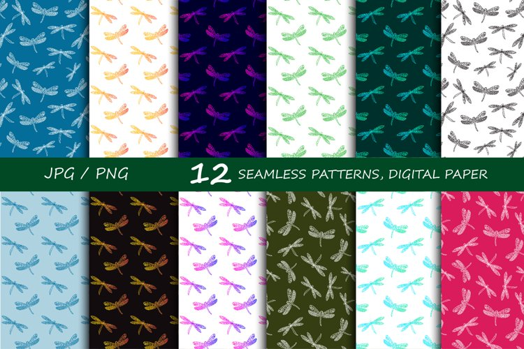 Dragonfly seamless patterns