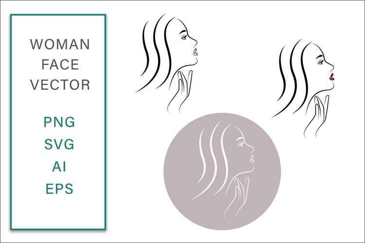 Feminine Face Vector Line Art woman Graphic SVG Illustration example image 1