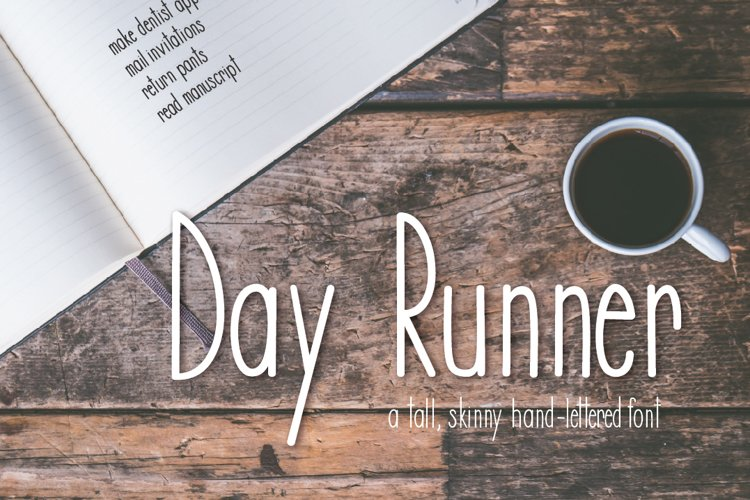 Day Runner Font - a tall, skinny, handwritten font example image 1