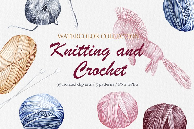 Knitting and Crochet. Watercolor collection example image 1