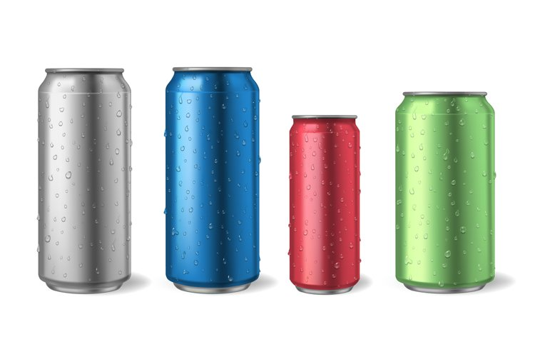 Aluminium cans with water drops. Realistic metal can mockups example image 1