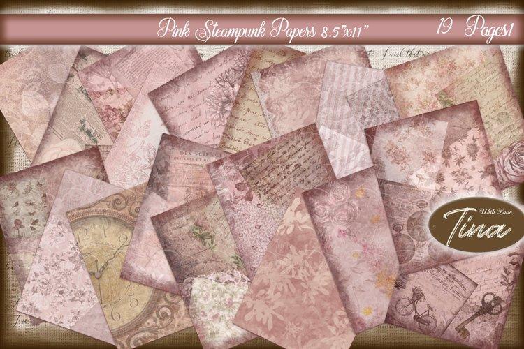 Pink Steampunk Floral Papers Keys Clocks Vintage Antique