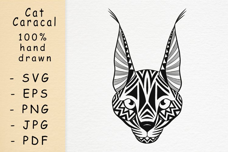 Hand drawn cat Caracal head with patterns