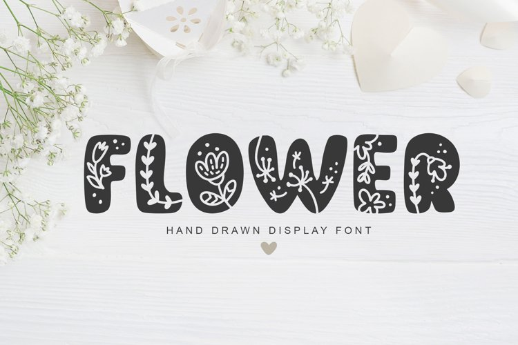Flower Hand Drawn display Font example image 1