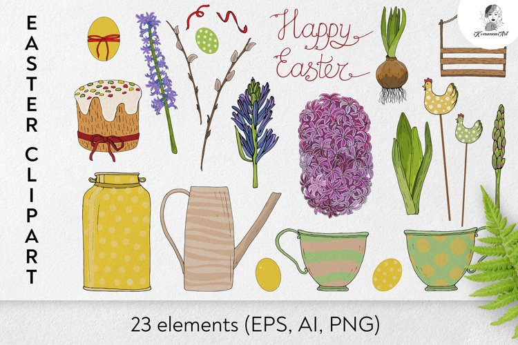 Hand drawn Vector Easter floral bundle, Ai, EPS, PNG. example