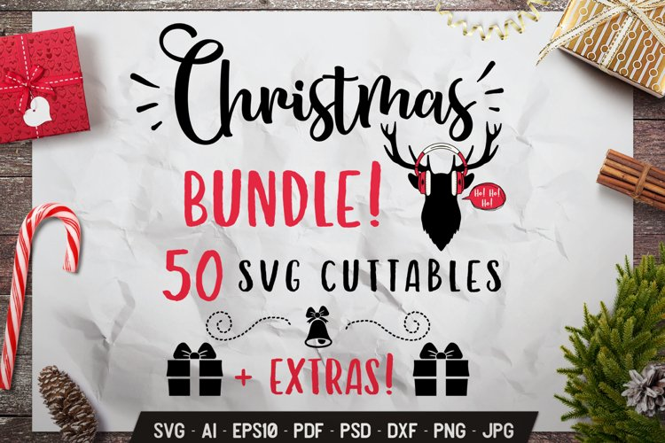 Christmas SVG Bundle 50 Quotes Winter Designs & Extras DXF example image 1