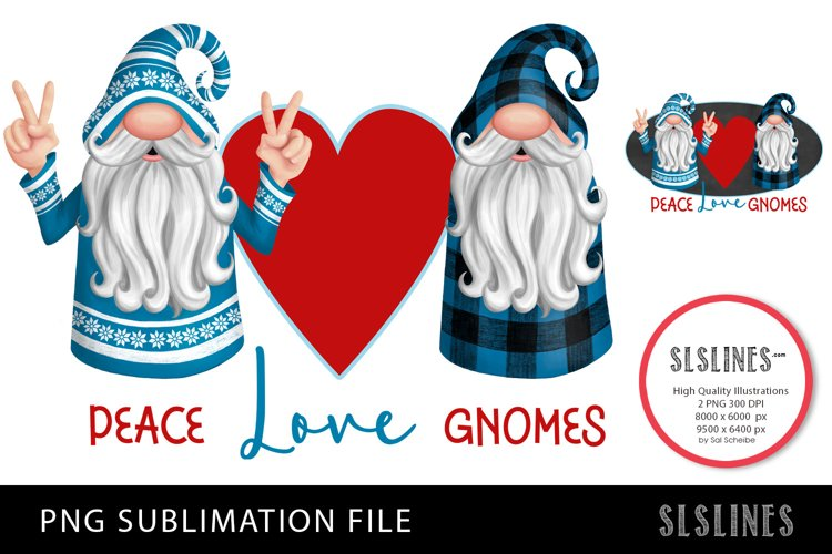 Peace Love Gnomes in Blue & Red PNG sublimation example image 1