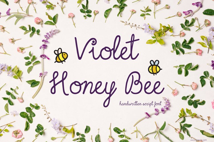 Violet Honey Bee Font | Handwritten | Multilingual Ligatures example image 1