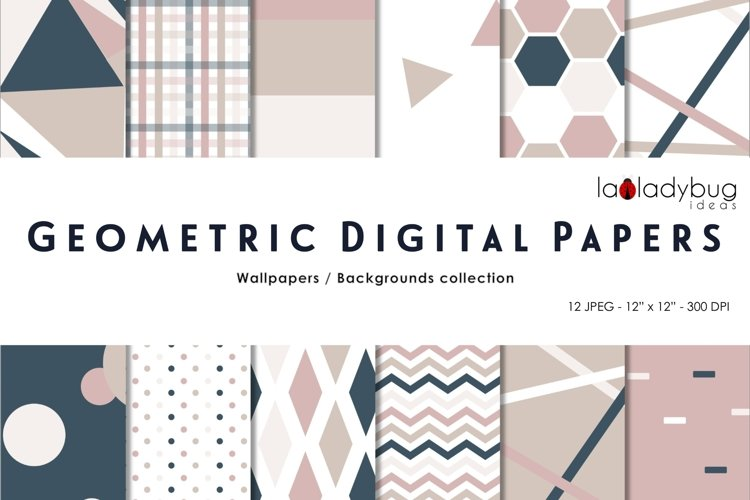 Neutral colors triangles digital papers. Geometric wallpaper example image 1