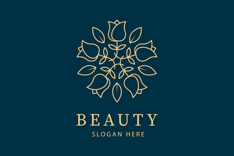 Beauty Elegant Mandala Ornament Pattern Line Art Rose Logo