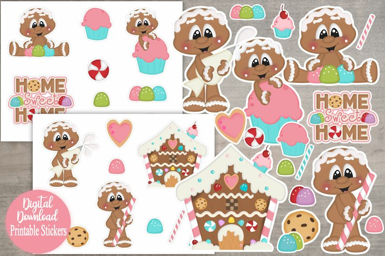 Home Sweet Home Gingers Printable Stickers/Planner Stickers example image 1