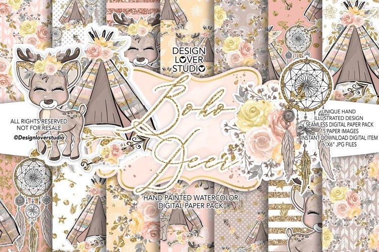 Boho Deer Cute digital paper