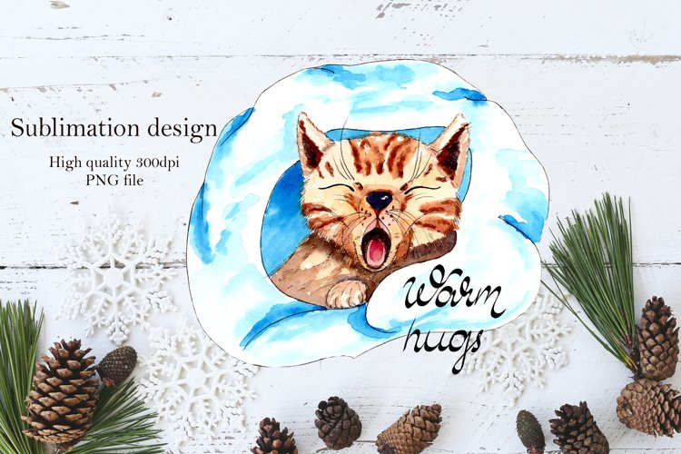 Warm hugs kitty, watercolor sublimation Design example image 1