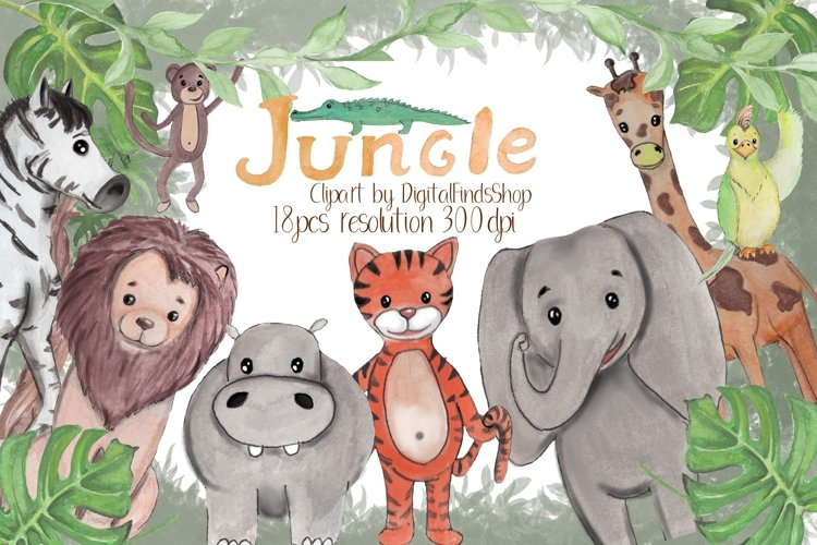 Jungle clipart, animals clipart in PNG and PDF formats