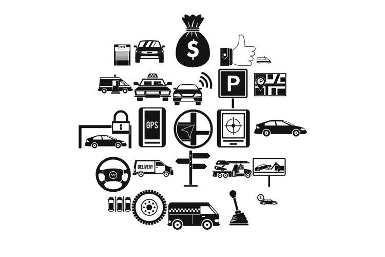 Vehicle icons set, simple style example image 1