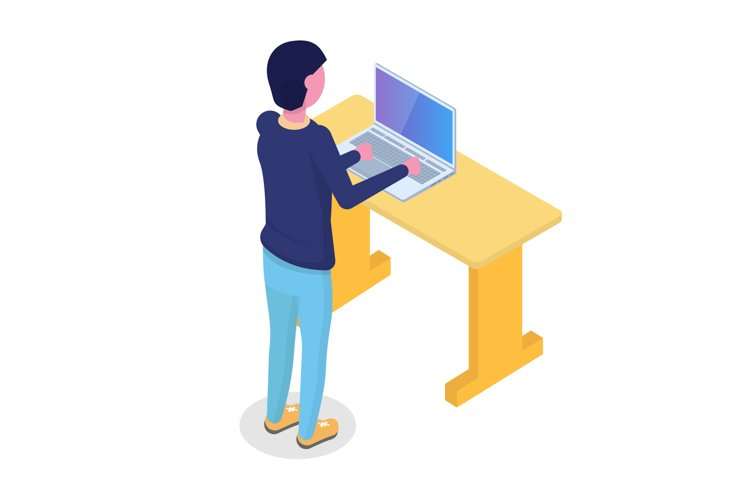 User character isometric. Vector illustration in flat style.