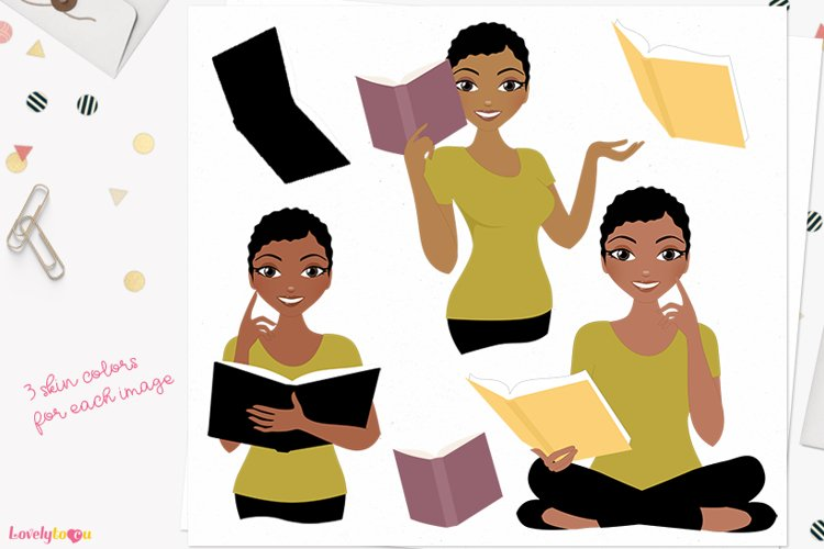 Book club woman character clipart L610 Viola example image 1
