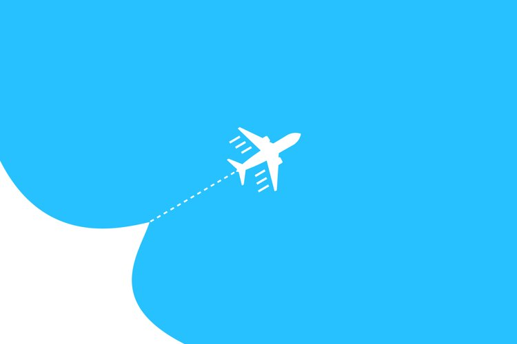 Airplane fly blue sky background. Airjet isolated. Travel example image 1