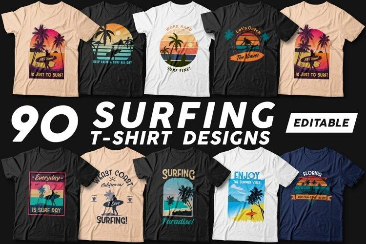 90 Surfing T-shirt Designs Vector Bundle - Beach T-shirt SVG