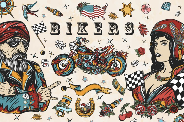 Bikers old school tattoo example image 1