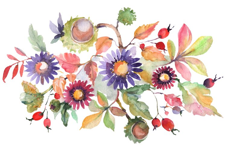 Autumn bouquet blossoming beauty Watercolor png example image 1