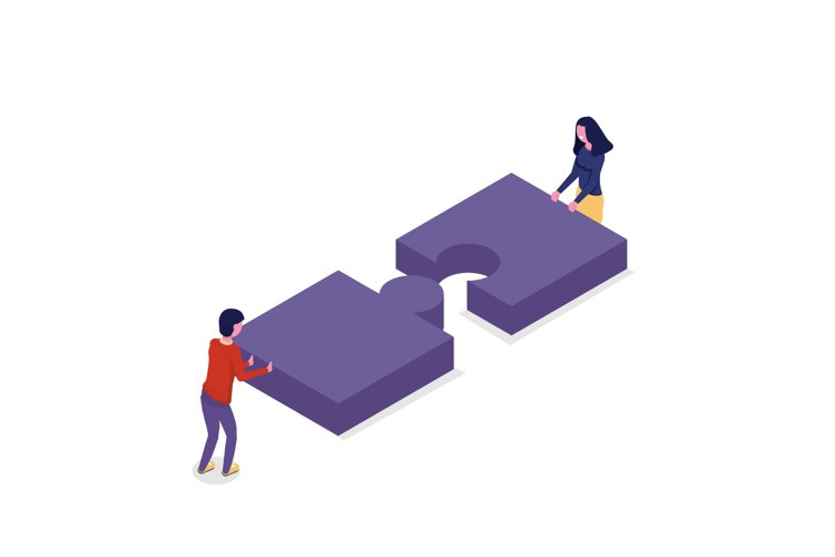 Unity, teamwork isometric concept. Connect two puzzle piece. example image 1