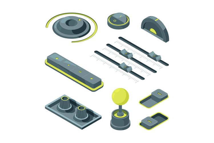 Isometric buttons. Realistic 3D pictures of various UI butto example image 1