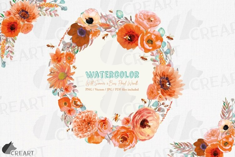 Watercolor orange flower wreath with bees invitation element
