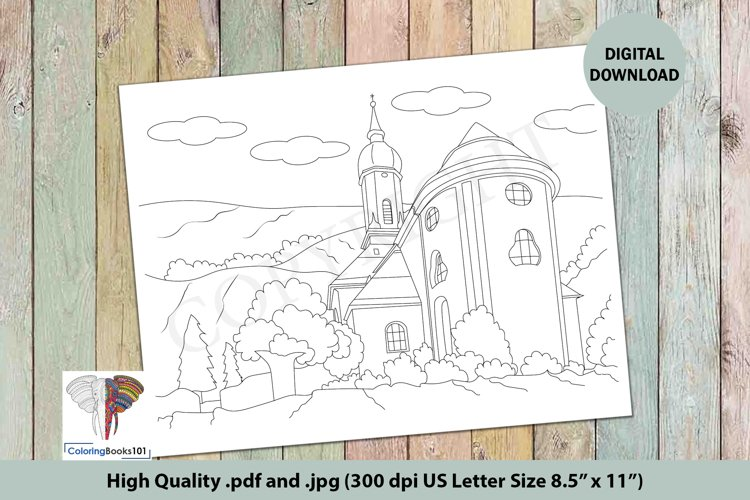 House Built in the Midst of Nature Intricate Coloring Page example image 1