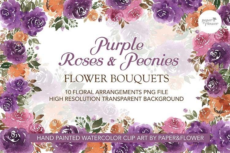 Purple Rose Floral Watercolor Bouquet Set