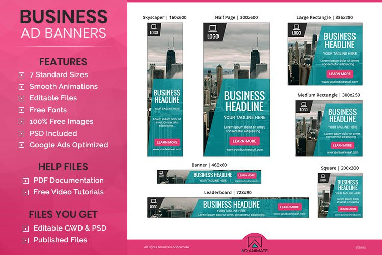 Business Banner Animated Ad Template - BU002 example image 1