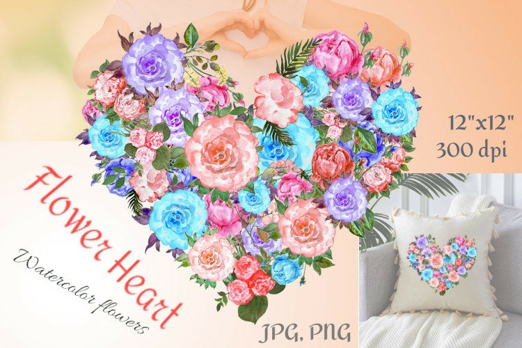 Watercolor Clip Art Heart of Flowers, PNG example image 1