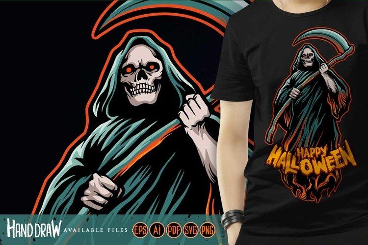 Skull grim reaper Halloween Pumpkins Illustrations