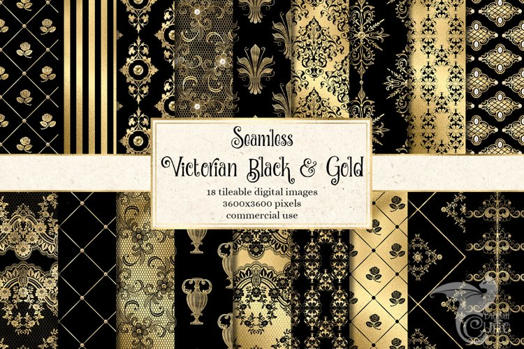 Victorian Black and Gold Digital Paper example image 1