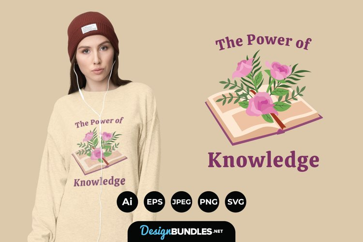 Flowers Growing from Book for T-Shirt Design example image 1