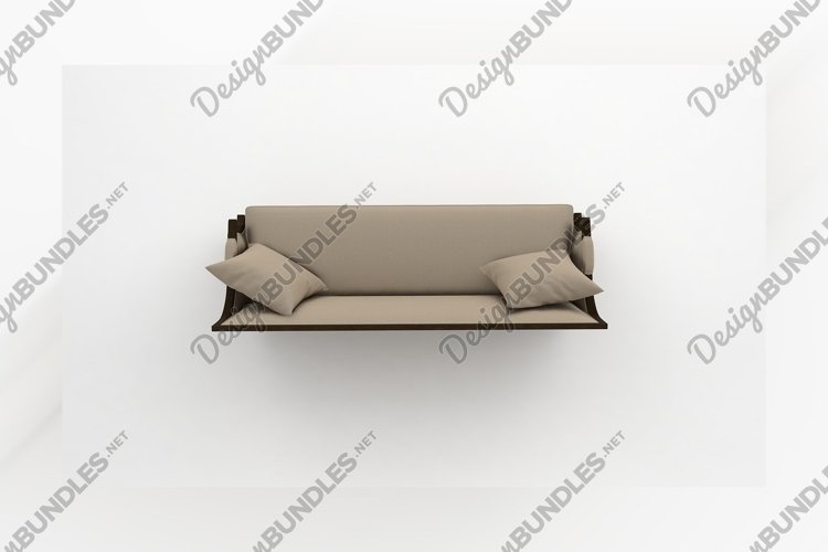Beige color wooden sofa top view furniture 3d rendering example image 1