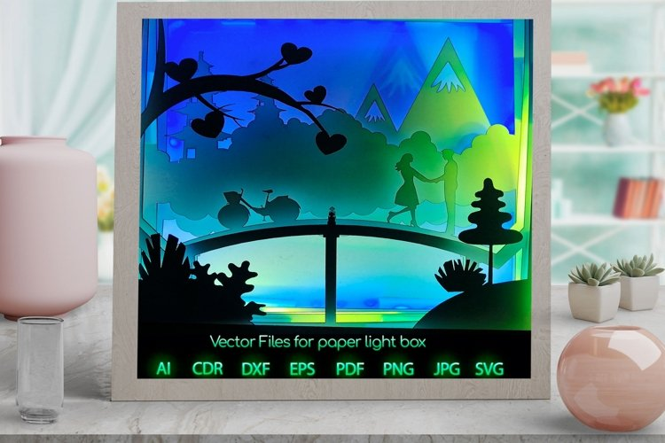 love Light box PNG SVG DXF CDR template Paper example image 1