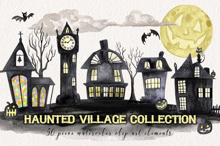 Watercolor Halloween Village Collection example image 1