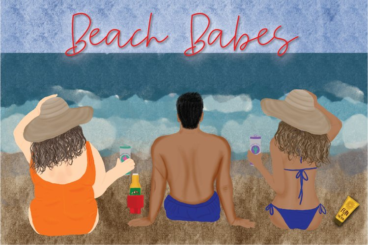 Beach Babes Clipart Set example image 1