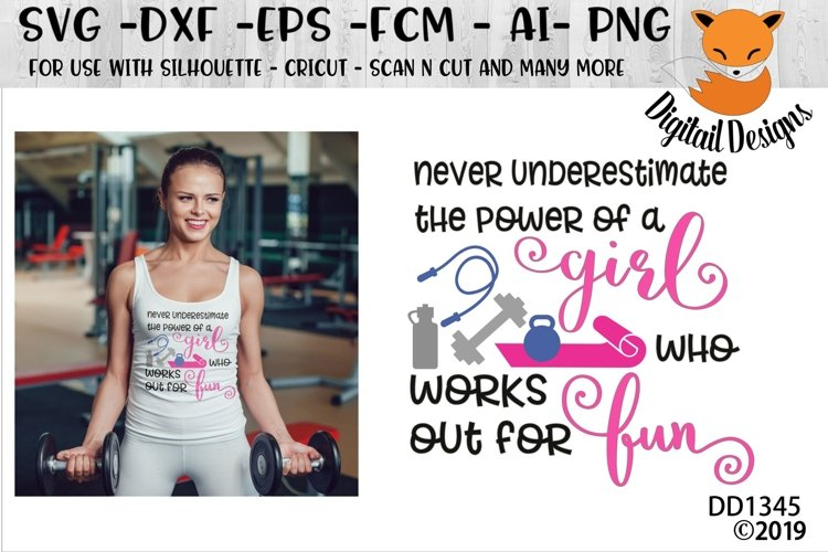 Work Out Funny Fitness Girl SVG example image 1