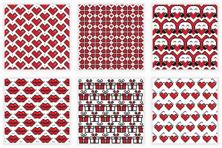 Valentine's Day seamless patterns example image 1