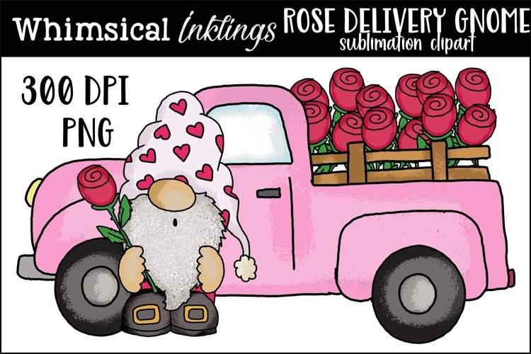 Rose Delivery Gnome Sublimation Clipart example image 1
