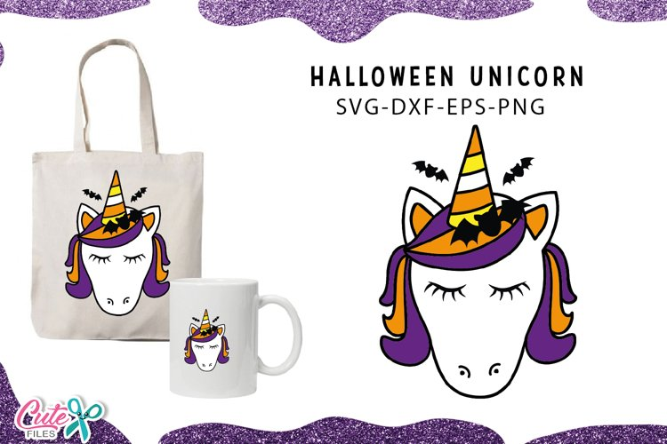 Unicorn face with bat Halloween svg cut files example image 1