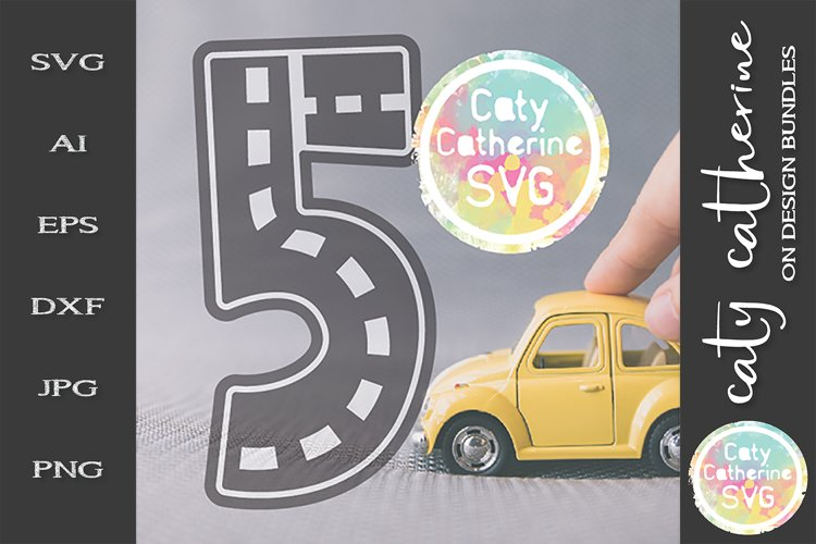 Road Map Kids Birthday Number Five SVG Cut File example image 1