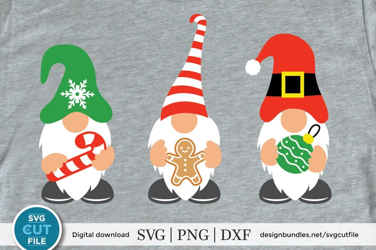 Three Christmas gnomes svg, a christmas gnome svg with candy example image 1