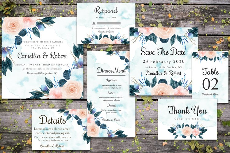 Gorgeous Blue And Peach Flowers Wedding Invitation Suite example image 1